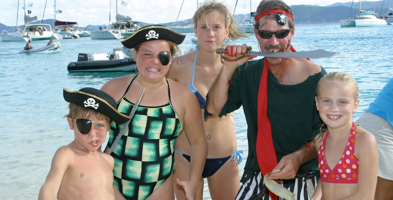 Picture of a family enjoying Pirates Day on a Virgin Islands Family Catamaran Charters