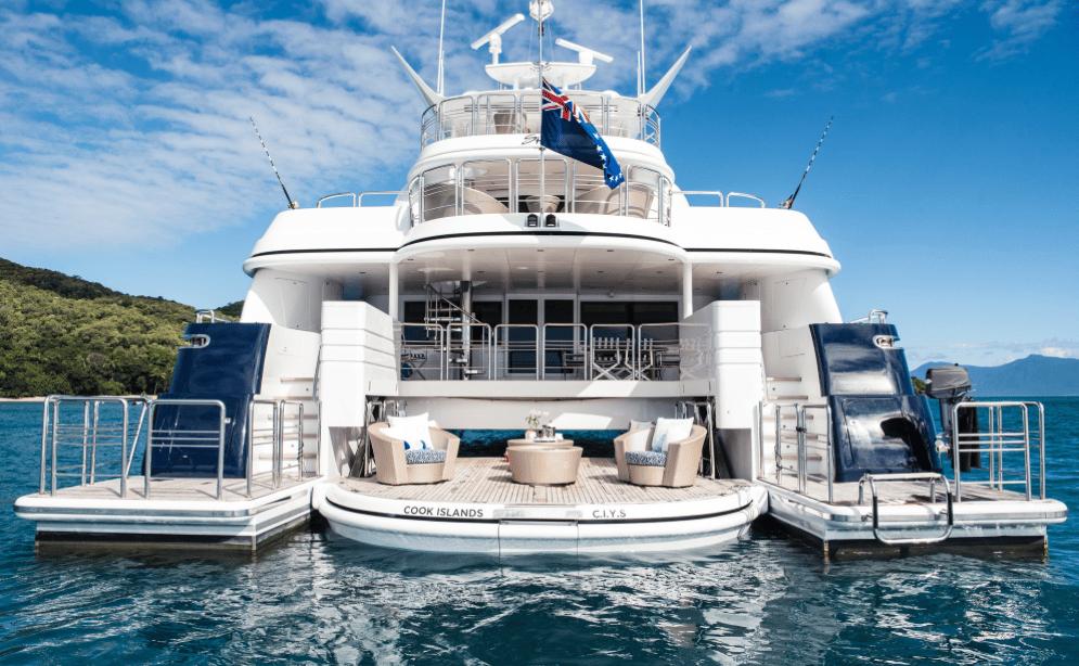 Photo from the stern of a Australia Luxury Kitesurfing Holidays on the multi Hull Spirit