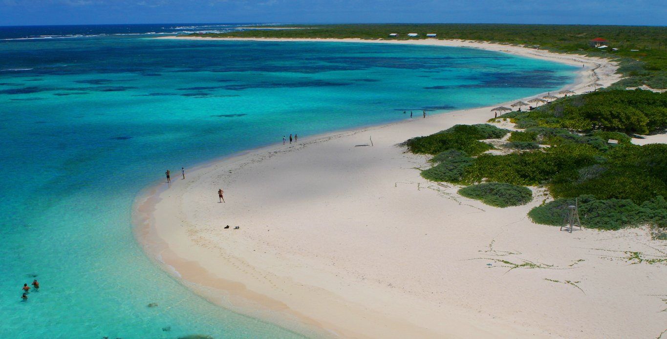Arial view of a secluded Anegada beach