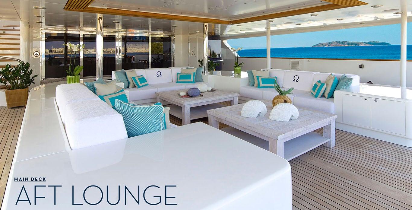 O'Mega Yacht Charter Aft Deck Lounge