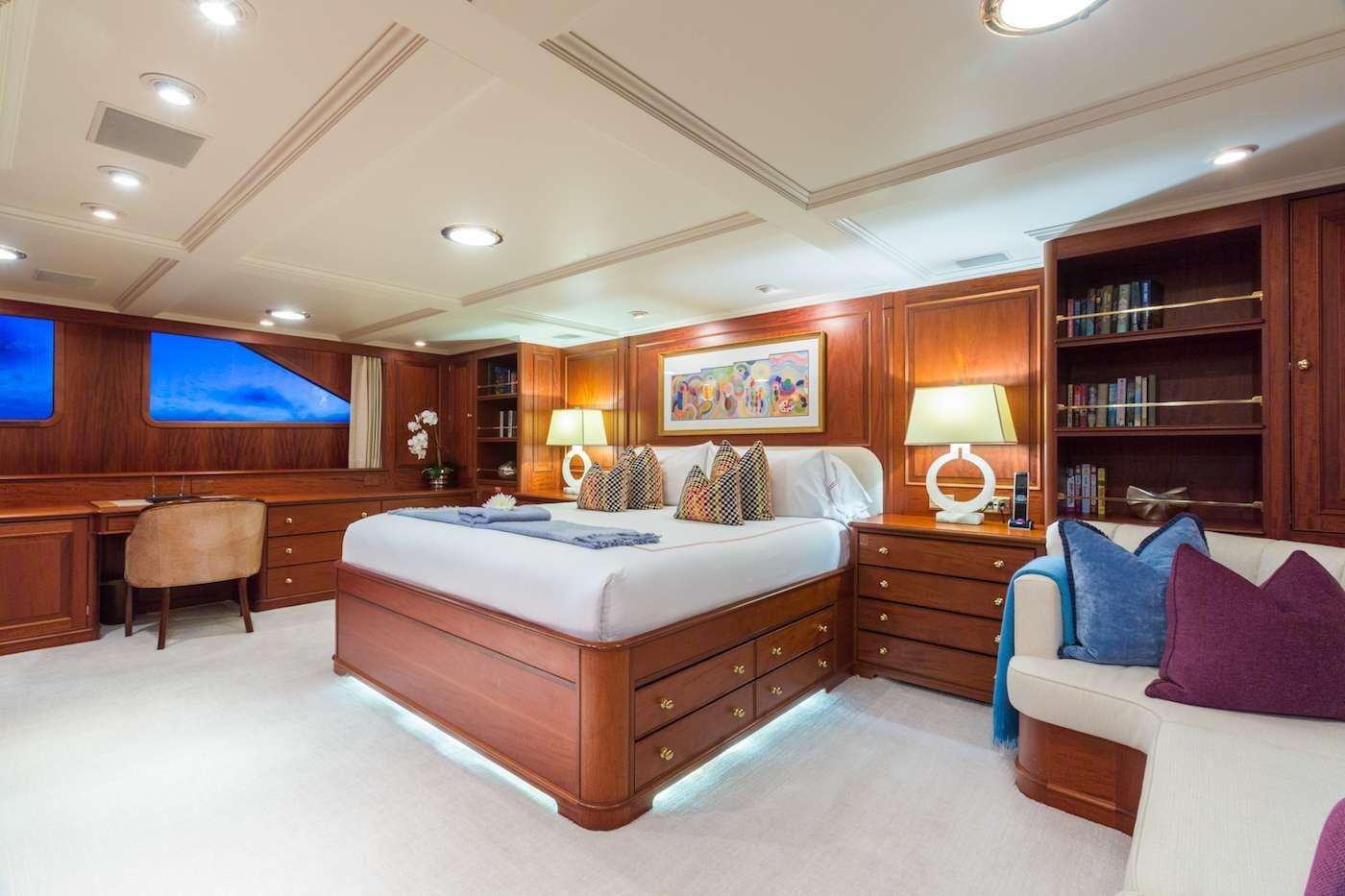 Motor Yacht 'LADY J' Master Stateroom, 12 PAX, 9 Crew, 142.00 Ft, 43.00 Meters, Built 1997, Palmer Johnson, Refit Year 2017