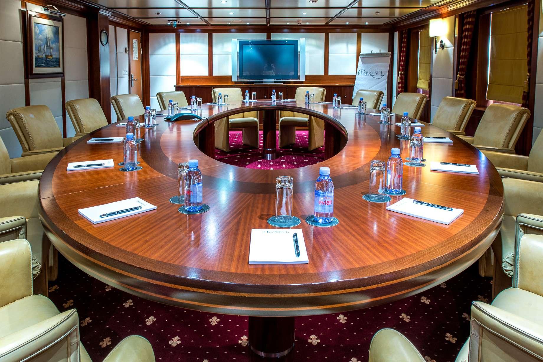 Motor Yacht 'LAUREN L' conference room, 40 PAX, 295.00 Ft, 90.00 Meters, Built 2002, Cassens Werft, Refit Year 2008/2015