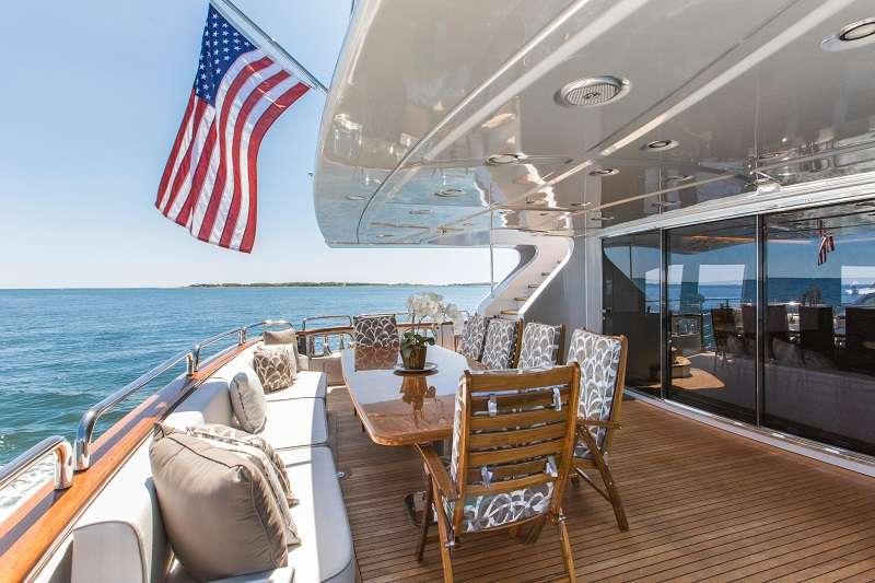 Motor Yacht 'TAIL LIGHTS' Aft Deck View 1, 12 PAX, 6 Crew, 116.00 Ft, 35.00 Meters, Built 2011, Azimut, Refit Year 2016