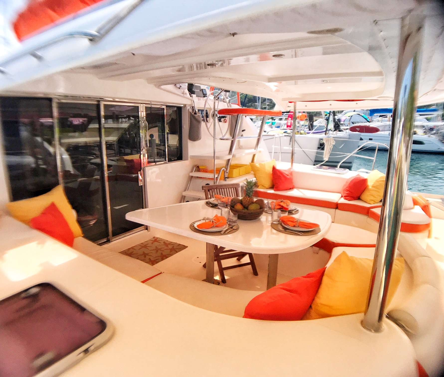 Catamaran Yacht 'STARFISH' Spacious cockpit with plenty of shade, 6 PAX, 2 Crew, 46.00 Ft, 14.00 Meters, Built 2008, Leopard, Refit Year 2019