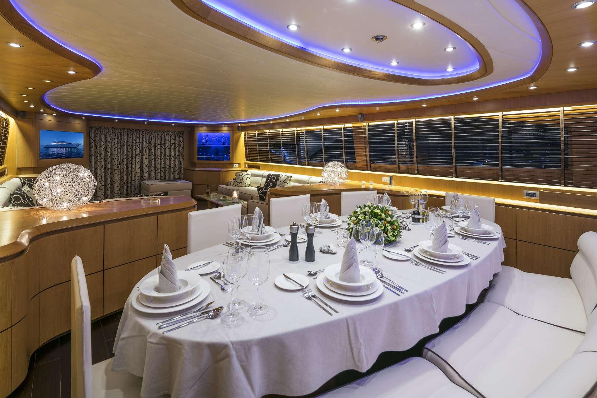 Motor Yacht 'PARIS A' Dining area, 12 PAX, 6 Crew, 115.00 Ft, 35.06 Meters, Built 2009, Majora, Refit Year 2013