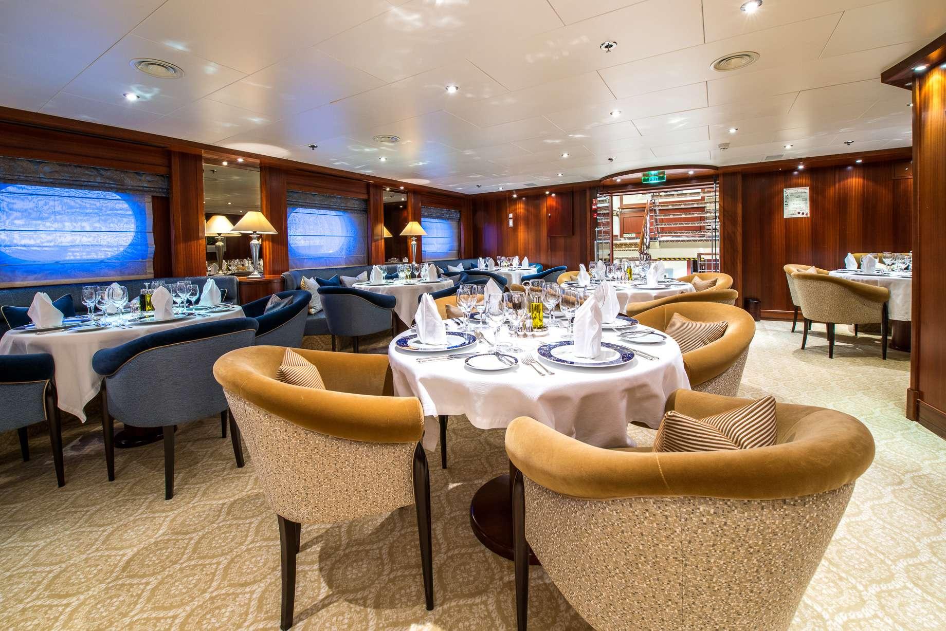 Motor Yacht 'LAUREN L' Dining Area, 40 PAX, 295.00 Ft, 90.00 Meters, Built 2002, Cassens Werft, Refit Year 2008/2015