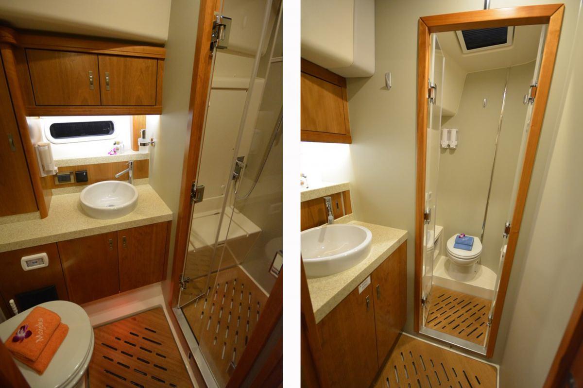 Sailing Yacht 'MOJEKA' Guest Bath - 2 views, 6 PAX, 2 Crew, 56.00 Ft, 17.00 Meters, Built 2014, MOODY