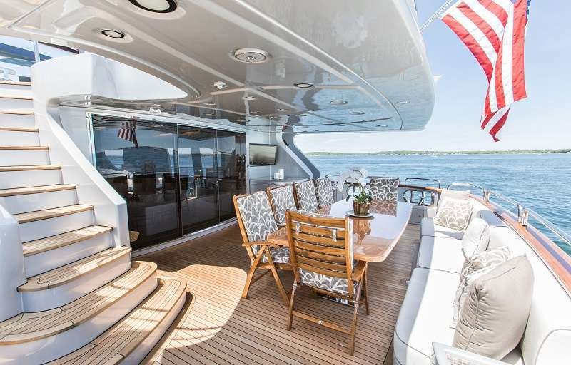Motor Yacht 'TAIL LIGHTS' Aft Deck Opposite view, 12 PAX, 6 Crew, 116.00 Ft, 35.00 Meters, Built 2011, Azimut, Refit Year 2016
