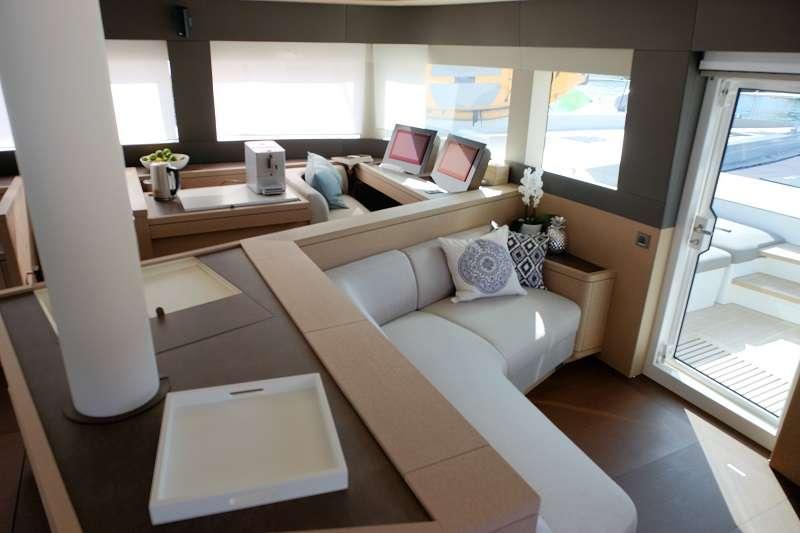 Catamaran Yacht 'TELLSTAR' Cozy seating area forward of salon, 8 PAX, 4 Crew, 77.00 Ft, 23.00 Meters, Built 2019, Lagoon