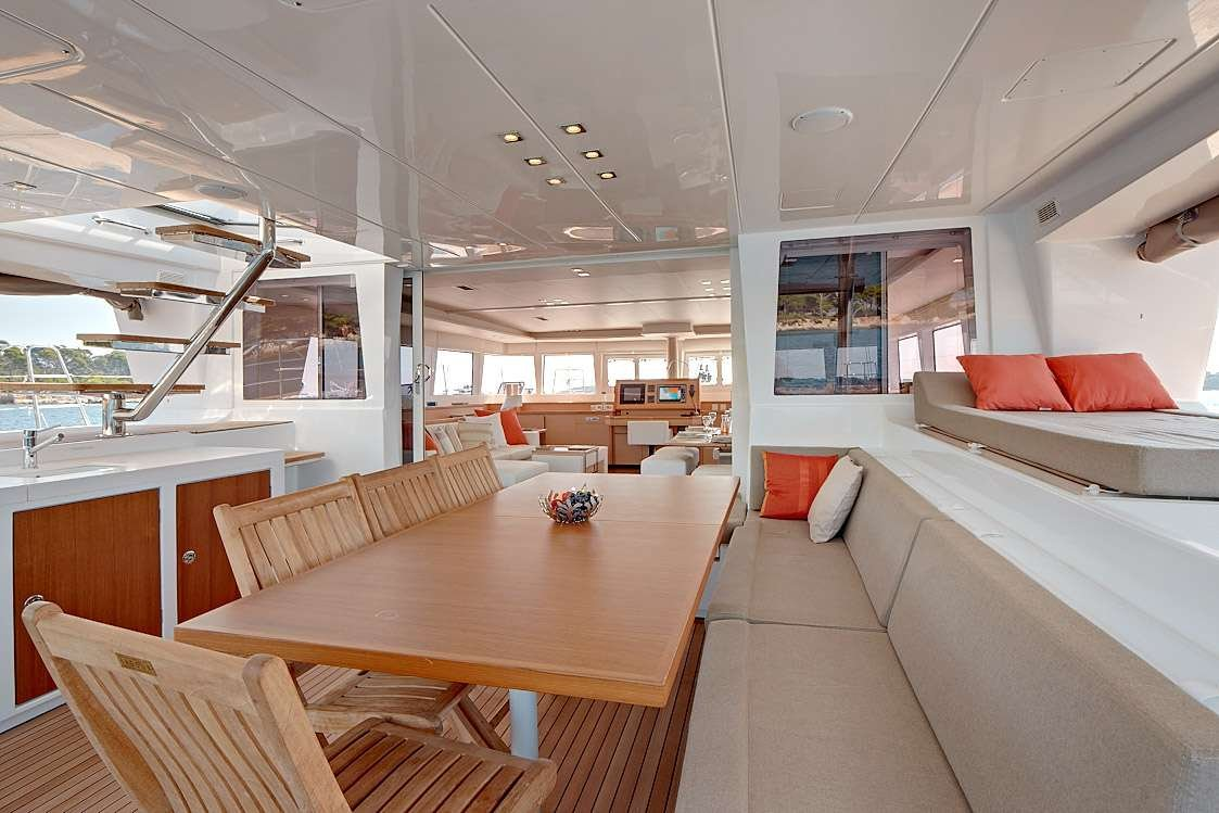 Catamaran Yacht 'FIREFLY' Spacious meal area in the cockpit, 6 PAX, 3 Crew, 61.00 Ft, 18.00 Meters, Built 2011, Lagoon