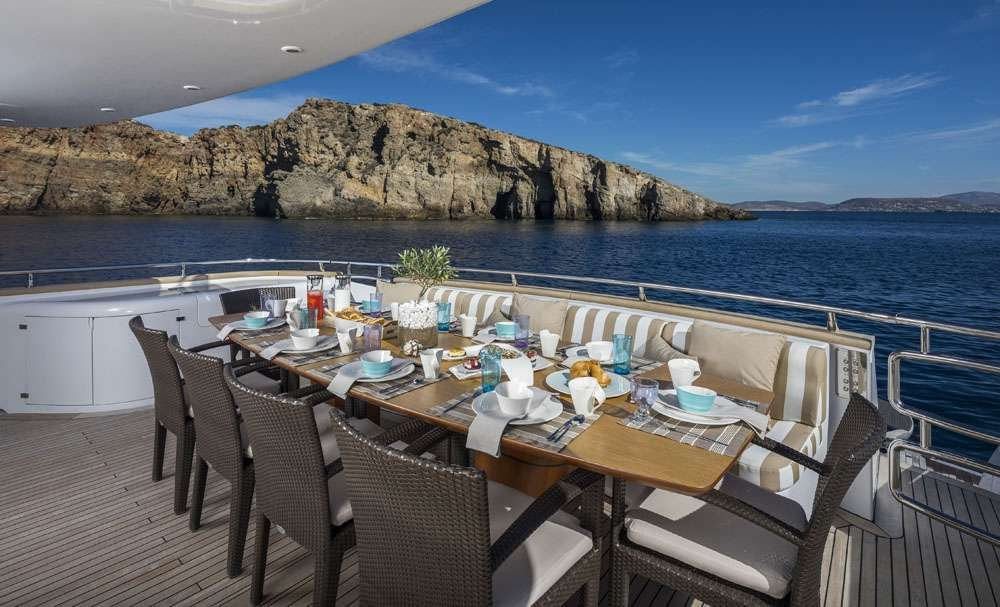 Motor Yacht 'PARIS A' Aft dining, 12 PAX, 6 Crew, 115.00 Ft, 35.06 Meters, Built 2009, Majora, Refit Year 2013