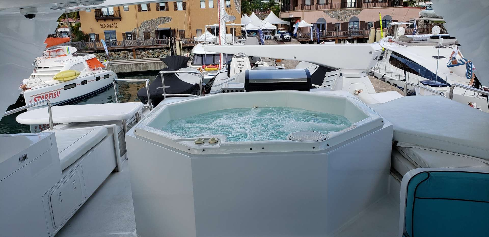 Motor Yacht 'LADY SHARON GALE' Jacuzzi area looking aft, 10 PAX, 4 Crew, 112.00 Ft, 34.00 Meters, Built 1998, Broward, Refit Year 2018