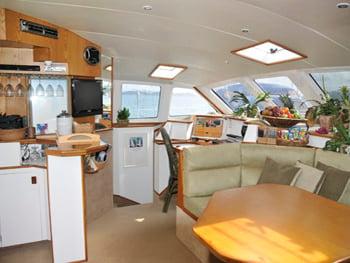 Catamaran Yacht 'BREANKER' Main Salon, 8 PAX, 2 Crew, 55.00 Ft, 16.00 Meters, Built 1991, Simonis, Refit Year 2018