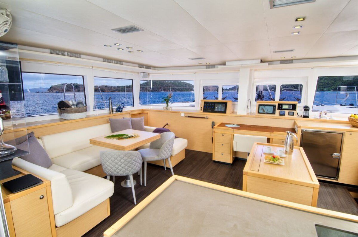 Catamaran Yacht 'ALTESSE' The saloon seating area, 8 PAX, 2 Crew, 56.00 Ft, 17.00 Meters, Built 2013, Lagoon, Refit Year 2019
