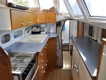 Catamaran Yacht 'BREANKER' Galley (Kitchen) Area, 8 PAX, 2 Crew, 55.00 Ft, 16.00 Meters, Built 1991, Simonis, Refit Year 2018
