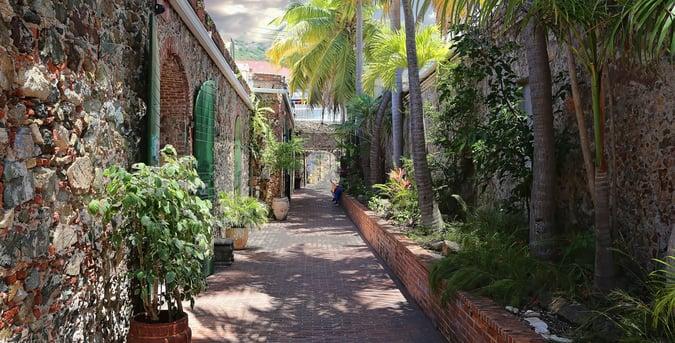 shopping street on St. Thomas