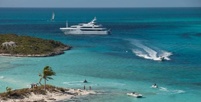 superyacht on an Exumas yacht charter