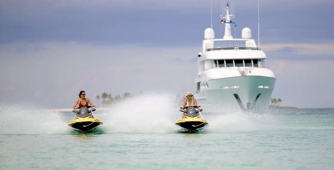 jet skis from a Bahamas motor yacht
