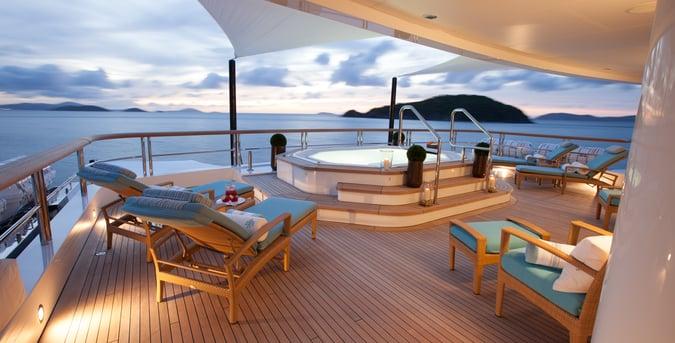 sundeck on motor yacht charter in Virgin Islands