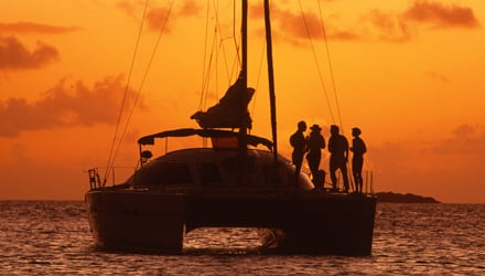 catamaran at sunset in Virgin Islands