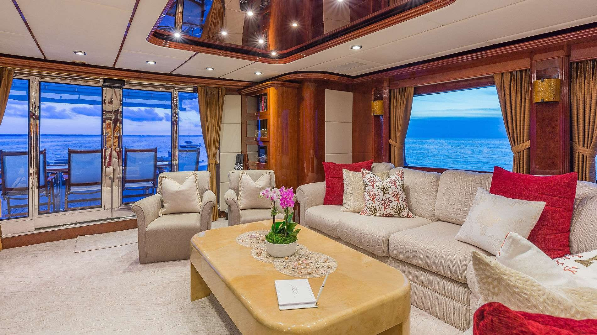 Motor Yacht 'QUINTESSA' Main Salon Looking Aft, 8 PAX, 4 Crew, 94.00 Ft, 28.00 Meters, Built 2000, Destiny, Refit Year 2019