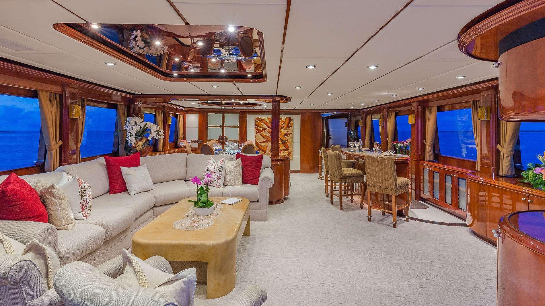Motor Yacht 'QUINTESSA' Main Salon Looking Forward, 8 PAX, 4 Crew, 94.00 Ft, 28.00 Meters, Built 2000, Destiny, Refit Year 2019