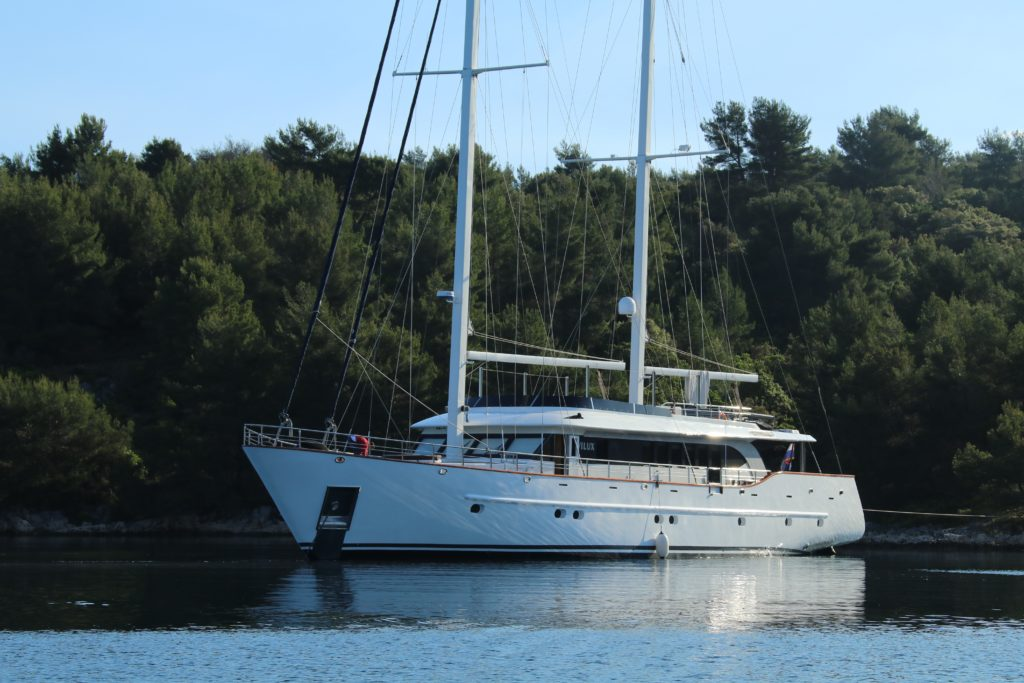 Picture of the Navilux Croatia Yacht Charter anchored in a harbor.