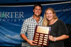 """Foxy Lady"" Lagoon 62 Receiving Their Award for Best Charter"