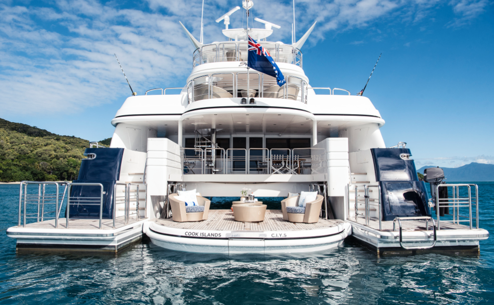 Photo from the stern of a Australia Luxury Kitesurfing Holidays on the multi Hull Spirit