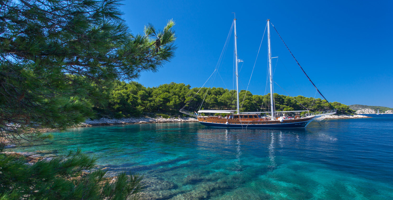 Luxury Gulet Charters anchored in a cove off the shores of Croatia