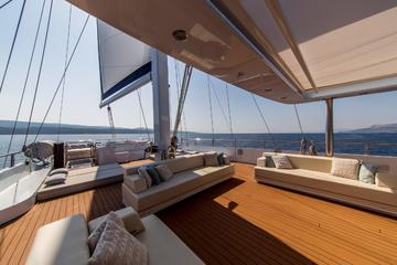 The piece de resistance aboard Aiaxaia is her ample outdoor deck, complete with a luxurious seating arrangement