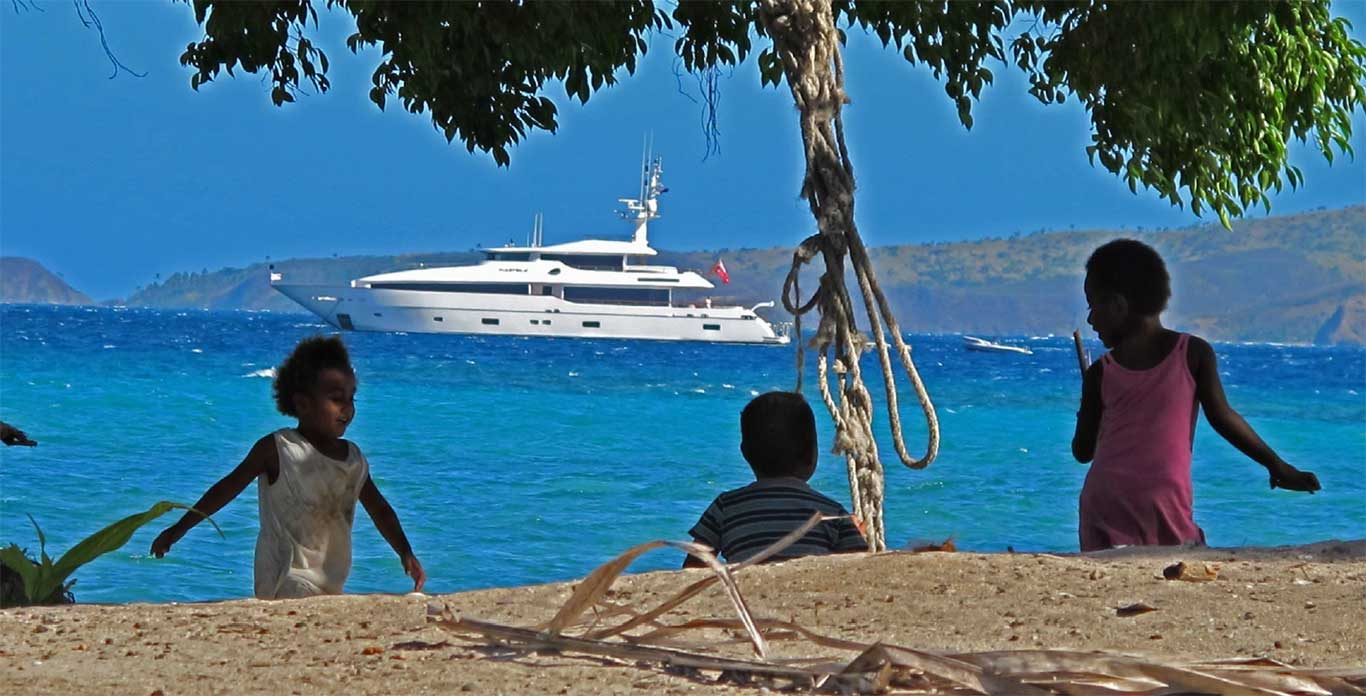 New Caledonia Yacht Charters - Masteka 2 anchored off the coast.