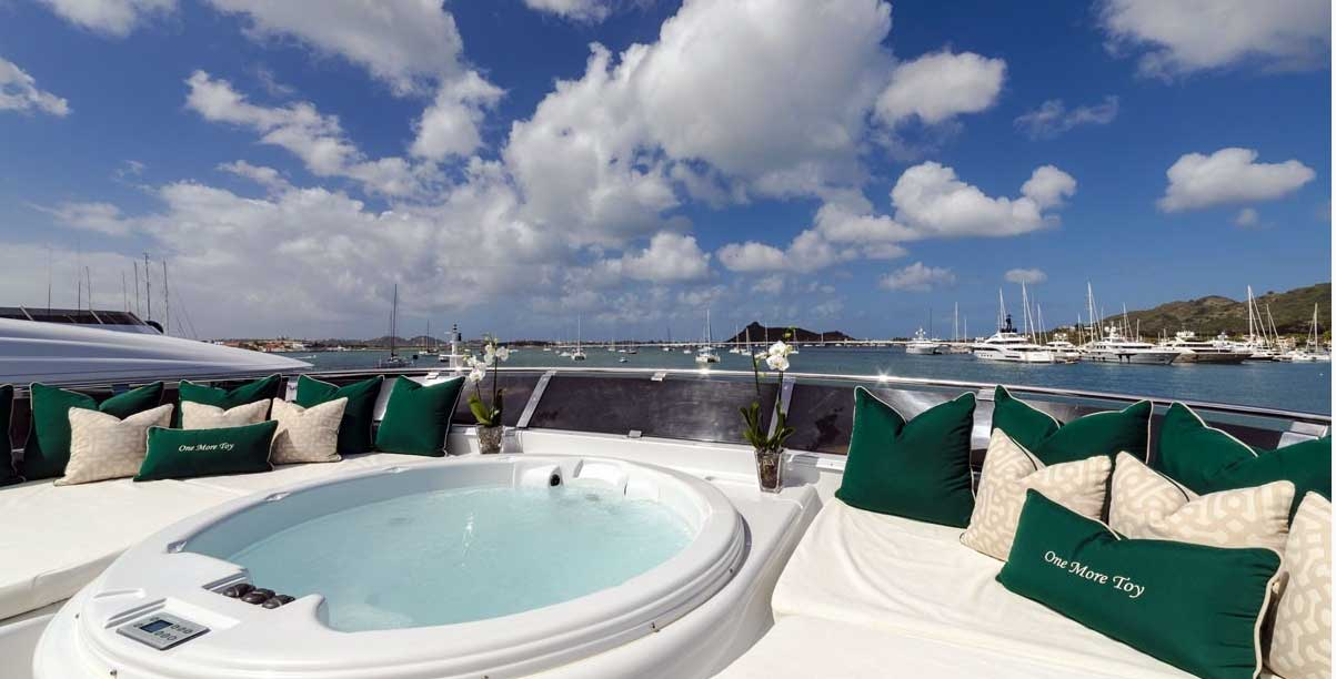 Your very own hot tub on board One More Toy yacht charters